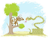 Monkey hangs on snake