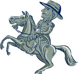 American Cavalry Officer Riding Horse Prancing Cartoon