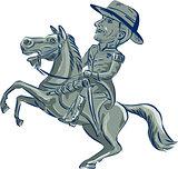 American Cavalry Officer Riding Horse Prancing Cartoon