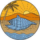 Conch Shell on Beach Mountain Sun Coconut Tree Mono LIne