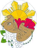 Drama Mask Philippine Sun Hibiscus Sampaguita Flower Mono Line