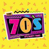 Party time The 70 s style label. Vector illustration.