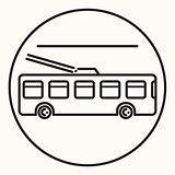Minimal outline trolleybus icon