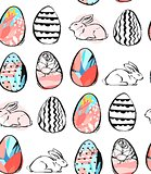 Hand drawn vector abstract creative universal Happy Easter seamless pattern design with Easter eggs and bunnies in pastel colors isolated on white background.Spring unusual graphic decoration