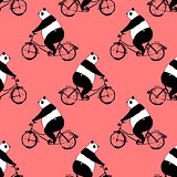 Seamless pattern with panda bear on bicycle