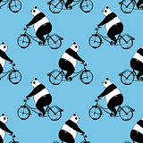 Seamless pattern with panda bear on bicycle