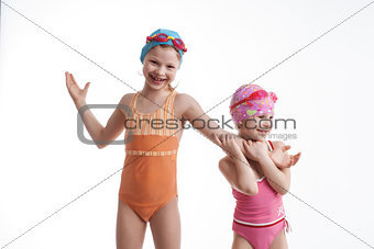 Two girls in swimming suits