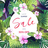 Summer tropical sale banner with exotic pink and purple flowers. Jungle vector floral template.