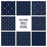 Minimalistic dark blue indigo ethnic patterns. Set of eight vector hand drawn aztec seamless backgrounds.