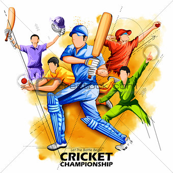 Batsman and bowler playing cricket championship