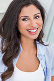 Beautiful Happy Hispanic Woman Perfect Teeth Smiling