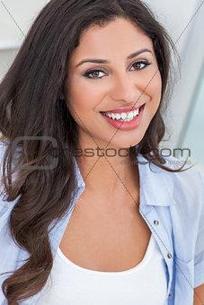 Beautiful Happy Hispanic Woman Perfect Teeth Smiling