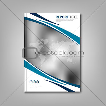Brochures book or flyer with abstract stripes and world map
