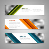 Collection banners with oblique colored stripes template