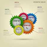 Info graphic with abstract colored gears template