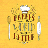 Trendy handwritten illustration for t-shirt design, notebook cover, poster for bakery shop and cafe.