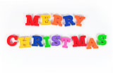 Merry christmas colorful text on a white