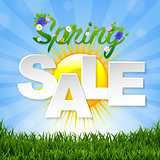 Spring Sale Banner With Sun