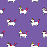 seamless pattern with cute unicorns, funny cats with horns