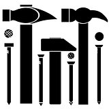 Set of Different Hammers and Nails