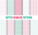 Dotted seamless patterns collection.
