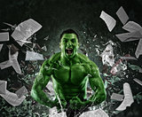 Green powerful muscular man