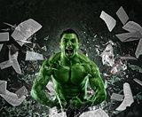 Green powerful muscular man