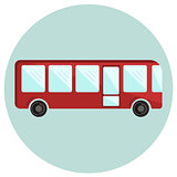 Cute colorful red bus icon