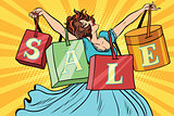 Woman with sale bags shopping