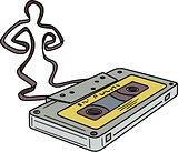 Compact Cassette Tape Man Dancing Mono Line