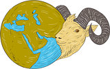 Ram Head Middle East Globe Drawing