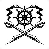 Pirates emblem - steering wheel and crossed swords or sabers.