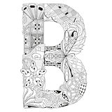 Letter B for coloring. Vector decorative zentangle object
