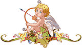 cupid holding a bow with arrow