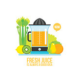 Juicer Fresh vegetables greens and fruits on white background