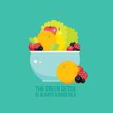 Fresh vegetables greens fruits berries bowl colorful background