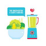 Fruits Vegetables Greens bowl and Blender Organic fresh food