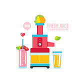 Mixer Juice Fresh fruits and vegetables Kitchen appliance background
