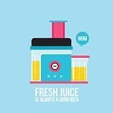 Colorful juicer Kitchen appliance background