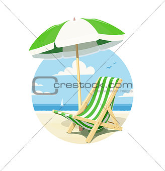 Beach chair and umbrella for summer rest