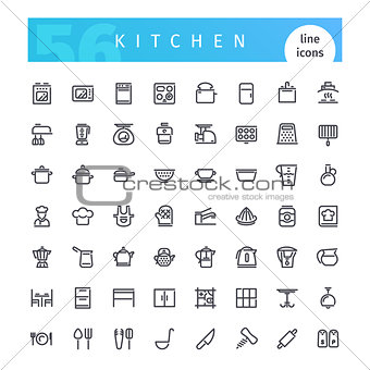 Kitchen Line Icons Set