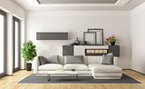 White and gray modern lounge