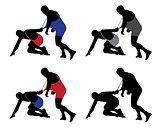 Wrestler pulling opponent's uniform