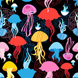 Seamless pattern with jellyfish