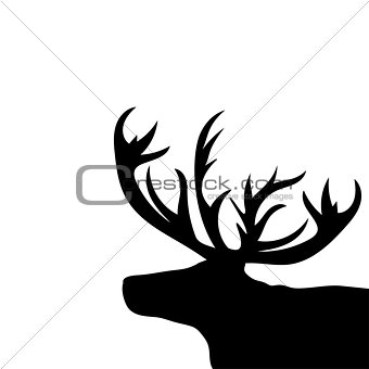 Black silhouette head Christmas Reindeer white background