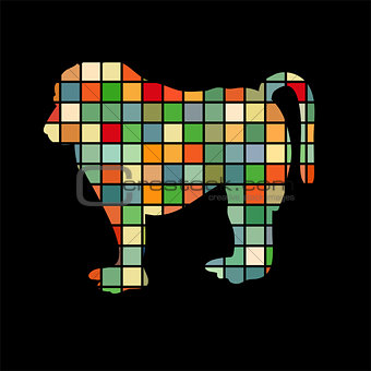 Baboon ape primate color silhouette animal