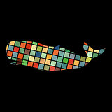 Whale undersea color silhouette animal