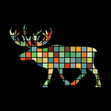 Deer northern color silhouette animal