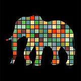 Elephant mammal color silhouette animal