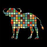 Bison mammal color silhouette animal